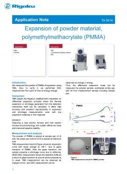 AppNote TA5014: Expansion of powder material, polymethylmethacrylate (PMMA)